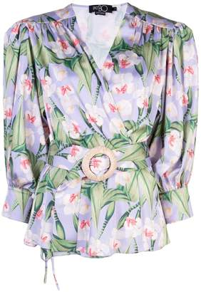 PatBO floral belted wrap blouse