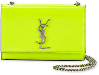 afe1bd8620 Saint Laurent Kate Monogram Small Neon Leather Crossbody Bag