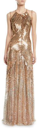 Jenny Packham Sequined Combo Halter-Neck Gown