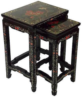 One Kings Lane Vintage Asian-Style Black Side Tables - Set of 2 - The Gilded Room