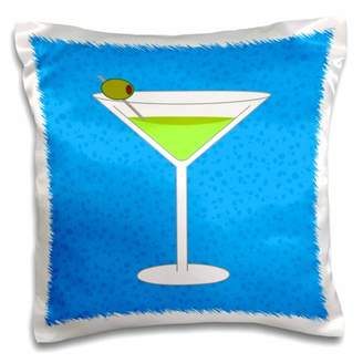 3dRose Bright Green Martini in Glass with Olive - Blue Background - Pillow Case, 16 by 16-inch