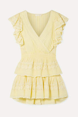 LoveShackFancy Gwen Ruffled Lace-trimmed Broderie Anglaise Cotton Mini Dress - Pastel yellow