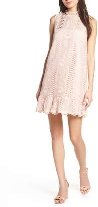 be4668d6db BB Dakota Sheri Mock Neck Sleeveless Lace Mini Shift Dress