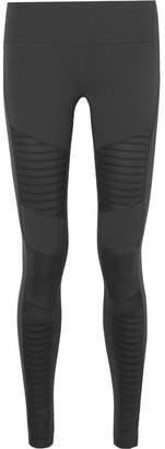 Alo Yoga Moto Mesh-paneled Stretch Leggings - Dark gray
