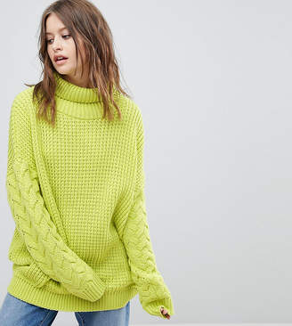 PrettyLittleThing High Neck Cable Sleeve Sweater