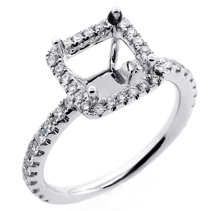 Etsy 0.59Cts F/G VS2/SI1 Diamond PRINCESS Cut Shaped Halo Engagement Ring Setting set in 14K white gold