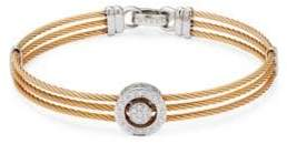 Alor Stainless Steel, 18K White Gold & Diamond Multi-Strand Bracelet