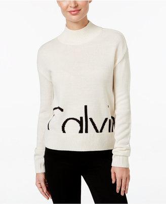 Calvin Klein Jeans Mock-Neck Logo Sweater $69.50 thestylecure.com