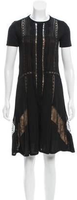Alberta Ferretti Lace-Trimmed Wool Dress