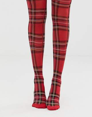 Monki checked tights in red