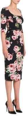 Dolce & Gabbana Rose-Print Ruched Dress