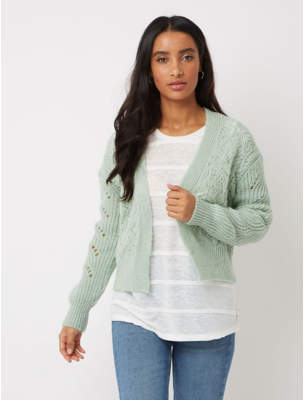 George Green Open Front Pointelle Cardigan 4c4707fc6