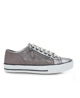 Moda In Pelle Zip Leather Trainers