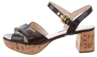 Prada Sport Patent Leather Platform Sandals