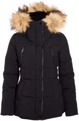 Quiz Black Padded Faux Fur Jacket
