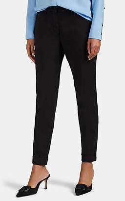 Mason Women's Cotton Straight High-Rise Cuffed Trousers - Black