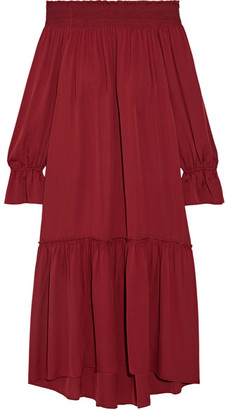 Theory - Off-the-shoulder Smocked Silk-jersey Midi Dress - Claret $545 thestylecure.com