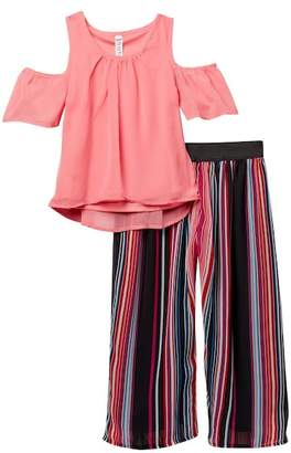 Beautees Cold Shoulder Top & Flowy Striped Pant Set (Big Girls)
