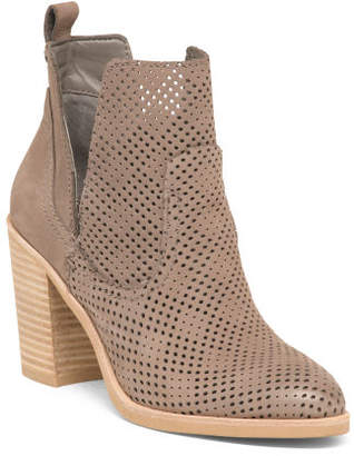Perforated Nubuck Leather Stacked Heel Booties