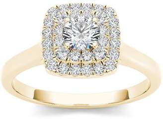 Imperial Diamond Imperial 1/2 Carat T.W. Diamond 10kt Yellow Gold Double Halo Engagement Ring