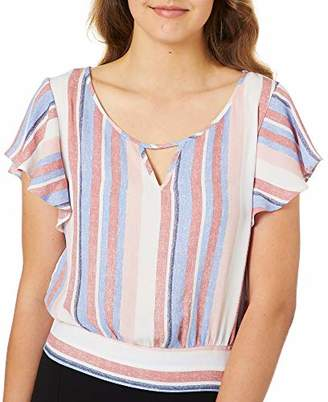 Amy Byer A. Byer Flutter Sleeve Tie Back Cropped Top (Junior's)