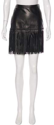 L'Agence Leather Mini Skirt