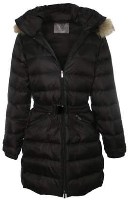 Daniel Black Fur Trim Hooded Waist Belt Jacket