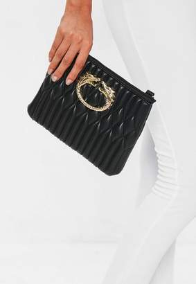 Missguided Black Quilted Dragon Trim Clutch