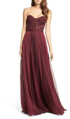 Women's La Femme Embellished Strapless Gown $418 thestylecure.com
