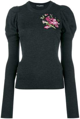 Dolce & Gabbana floral embroidered puff sleeve knitted top