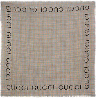 Gucci Gailes Prince Of Wales Checked Wool Scarf - Brown