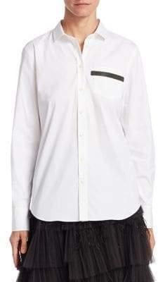 Brunello Cucinelli Striped Pocket Poplin Shirt