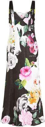 Off-White Floral Print Silk Jacquard Dress