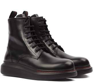 Alexander McQueen Hybrid Black Calf Leather Lace-up Boots