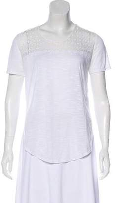 The Kooples Mesh-Trimmed Short Sleeve T-Shirt