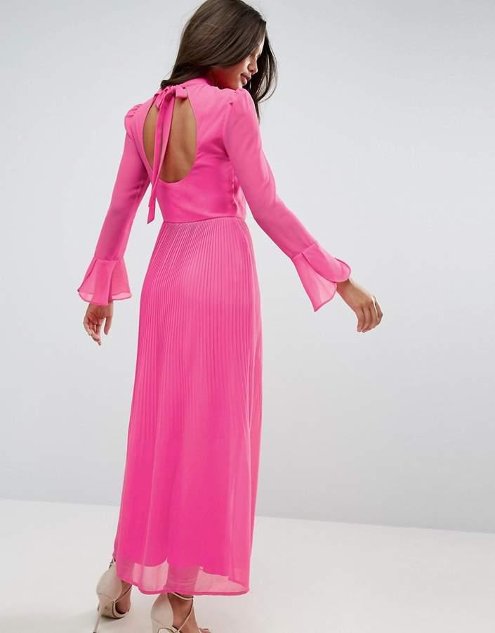 AsosASOS High Neck Pleated Maxi Dress with Open Back