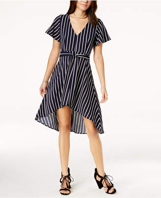 Crystal Doll Juniors' Striped High-Low Dress