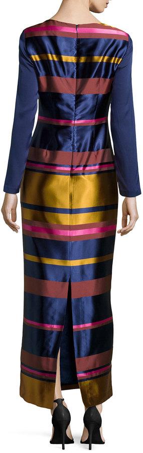 Trina Turk Striped Long-Sleeve Maxi Dress, Navy/Multi
