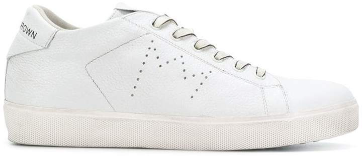 Leather Crown lace up perforated sneakers