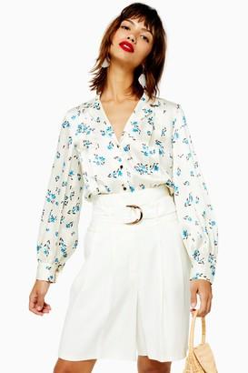Topshop Floral Pintuck Shirt
