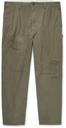 Beams Cropped Pleated Distressed Twill Trousers