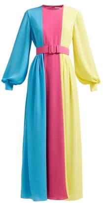 Emilia Wickstead Bernadette Colour Block Crepe Midi Dress - Womens - Multi