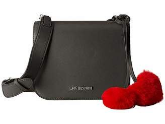 Love Moschino Crossbody Bag with Faux Fur Hearts