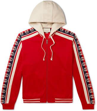 Gucci Webbing-Trimmed Tech-Jersey Zip-Up Hoodie - Men - Red