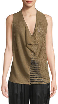 Urban Zen Cowl-Neck Hemp-Linen Knit Tank