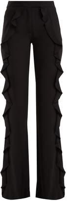 Elie Saab Ruffle-trimmed wide-leg crepe trousers