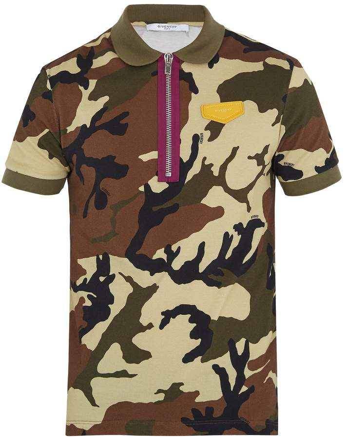 GIVENCHY Cuban-fit camouflage-print cotton polo shirt