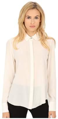 Prabal Gurung Crepe De Chine Silk Long Sleeve Top Women's Long Sleeve Button Up