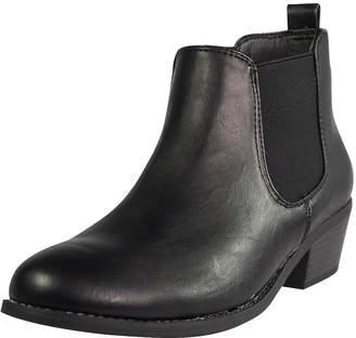51d34e66ee1 Refresh Tildon-02 Women s Almond Toe Simple Flat Heel Ankle Riding Booties