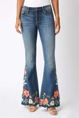 d81233915c9 Driftwood Farrah Flare in Isla Embroidered Wide Leg Jean